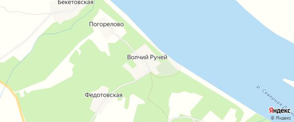 Карта деревни Волчьего Ручья в Архангельской области с улицами и номерами домов