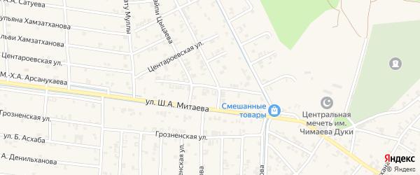 Шоссейная улица на карте села Чечен-Аул с номерами домов