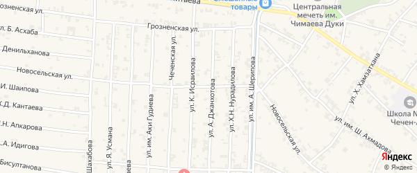 Новосельская улица на карте села Чечен-Аул с номерами домов
