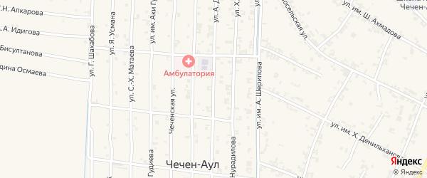 Спортивная улица на карте села Чечен-Аул с номерами домов