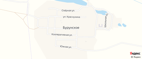 Озерная улица на карте Бурунское села с номерами домов