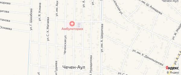 Улица Х.Нурадилова на карте села Чечен-Аул с номерами домов