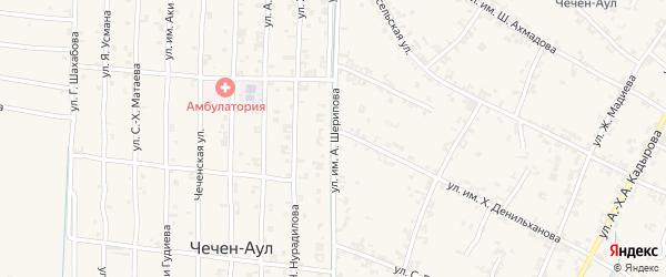 Западная улица на карте села Чечен-Аул с номерами домов