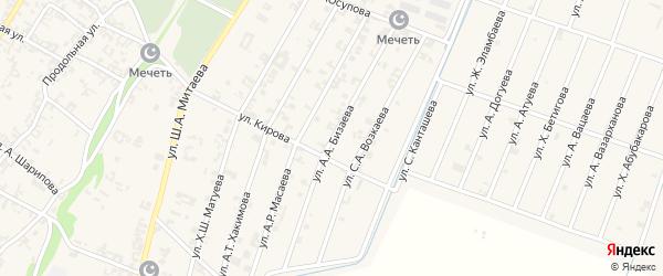 Улица А.А.Бизаева на карте села Новые-Атаги с номерами домов
