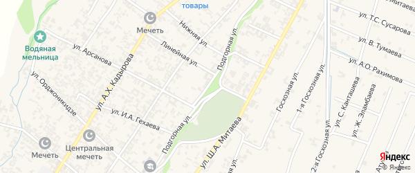 Подгорная улица на карте села Новые-Атаги с номерами домов