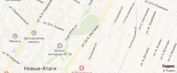 Улица Ш.А.Митаева на карте села Новые-Атаги с номерами домов