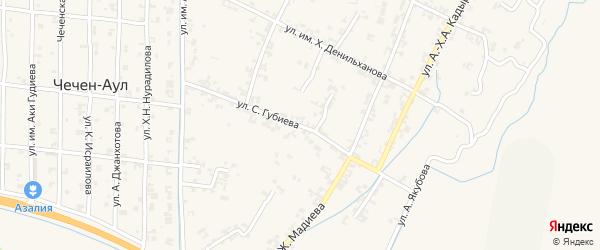 Садовая улица на карте села Чечен-Аул с номерами домов