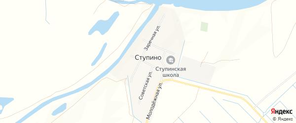 Карта села Ступино в Астраханской области с улицами и номерами домов