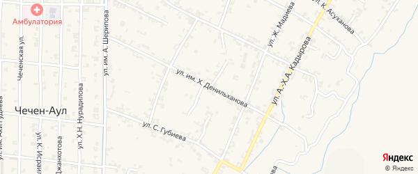 Рабочая улица на карте села Чечен-Аул с номерами домов
