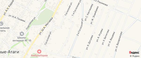 Госхозная улица на карте села Новые-Атаги с номерами домов