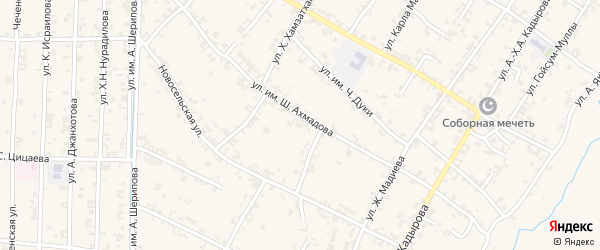 Западный 2-й переулок на карте села Чечен-Аул с номерами домов