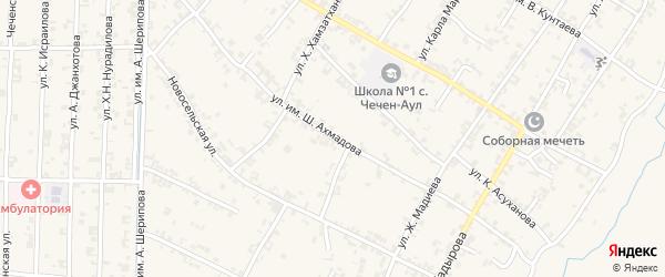 Улица Орджоникидзе на карте села Чечен-Аул с номерами домов