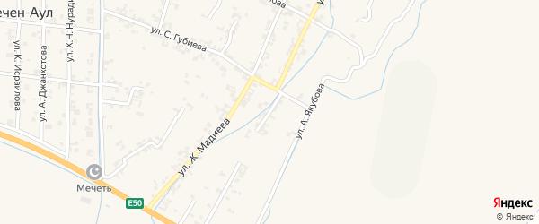 Заречная улица на карте села Чечен-Аул с номерами домов