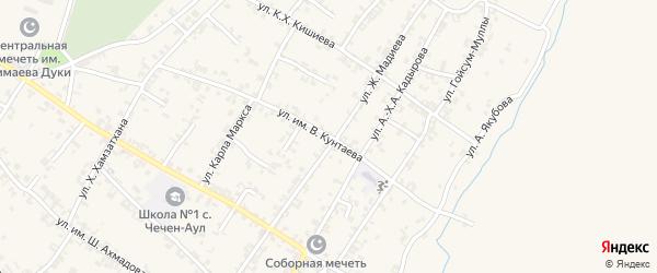 Комсомольская улица на карте села Чечен-Аул с номерами домов