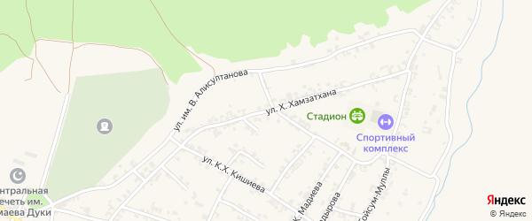 Первомайская улица на карте села Чечен-Аул с номерами домов