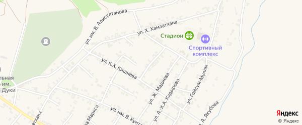 Подгорная улица на карте села Чечен-Аул с номерами домов