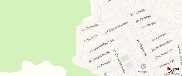 Горная улица на карте села Беркат-Юрт с номерами домов