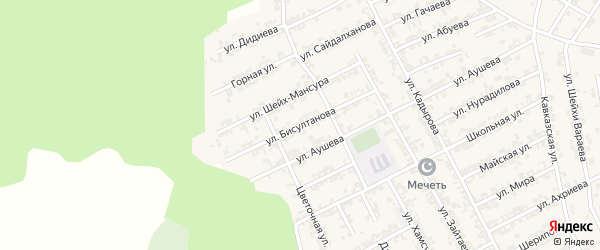 Улица имени Исмаила Ибрагимовича Бисултанова на карте Грозного с номерами домов