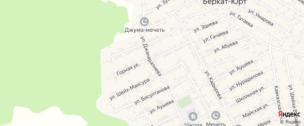 Переулок 3-й Джанаралиева на карте села Беркат-Юрт с номерами домов