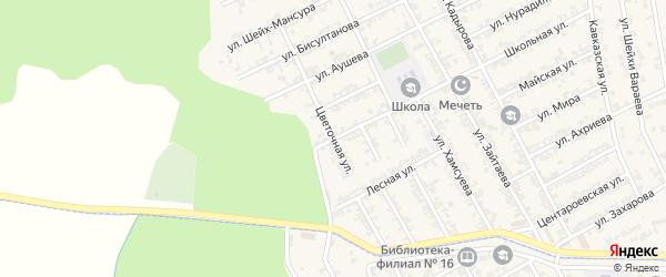 Цветочная улица на карте села Беркат-Юрт с номерами домов