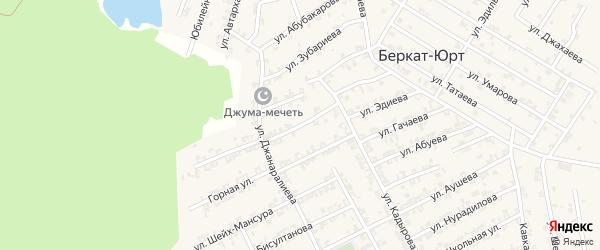 Переулок 1-й Джанаралиева на карте села Беркат-Юрт с номерами домов