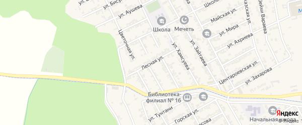 Лесная улица на карте села Беркат-Юрт с номерами домов