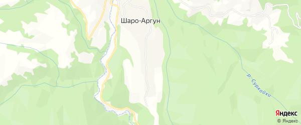Карта села Шаро-аргуна в Чечне с улицами и номерами домов