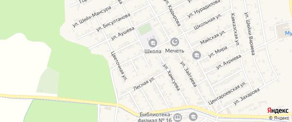 Школьный 1-й переулок на карте села Беркат-Юрт с номерами домов