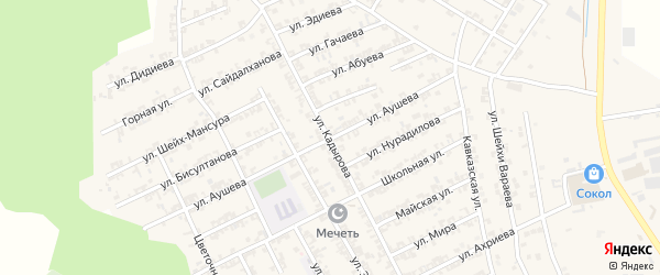 Улица Аушева на карте села Беркат-Юрт с номерами домов
