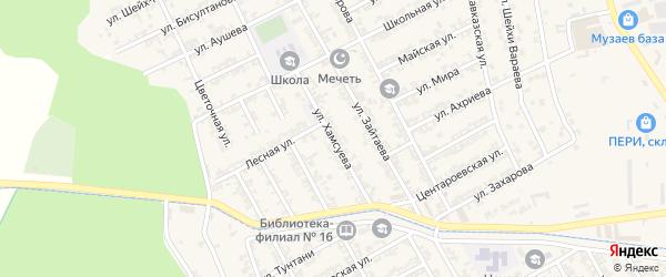 Улица Хамсуева на карте села Беркат-Юрт с номерами домов