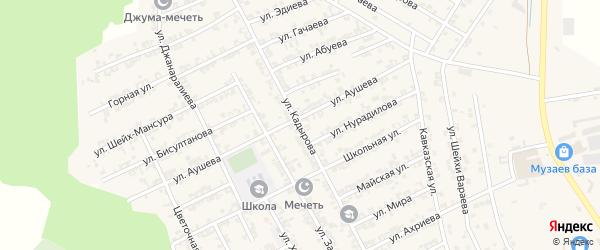 Улица Кадырова на карте села Беркат-Юрт с номерами домов