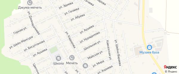 Улица Нурадилова на карте села Беркат-Юрт с номерами домов