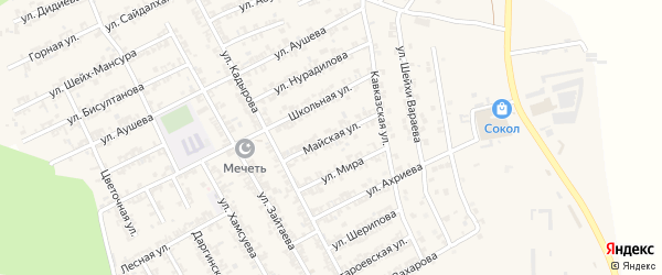 Майская улица на карте села Центора-Юрт с номерами домов
