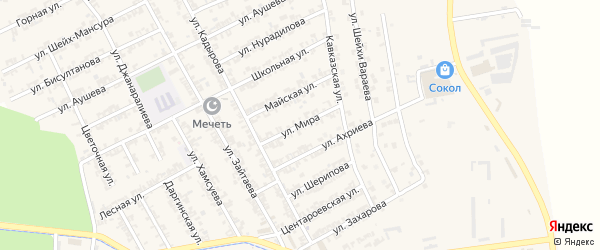 Улица Мира на карте села Беркат-Юрт с номерами домов