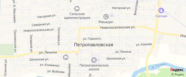 Улица М.Горького на карте Петропавловской станицы с номерами домов