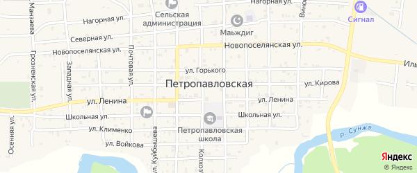 Центральная улица на карте Петропавловской станицы с номерами домов