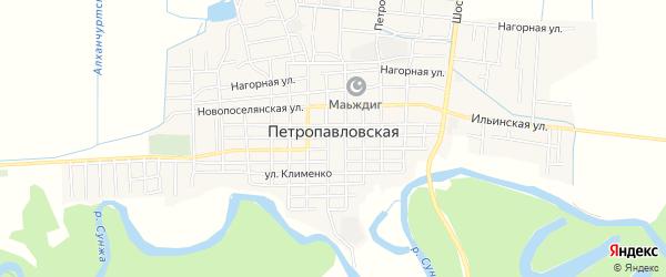 Карта Петропавловской станицы в Чечне с улицами и номерами домов