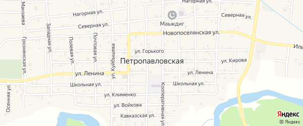 Советская улица на карте Петропавловской станицы с номерами домов