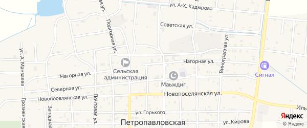 Нагорная улица на карте Петропавловской станицы с номерами домов