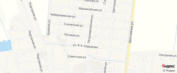 Луговая улица на карте Петропавловской станицы с номерами домов