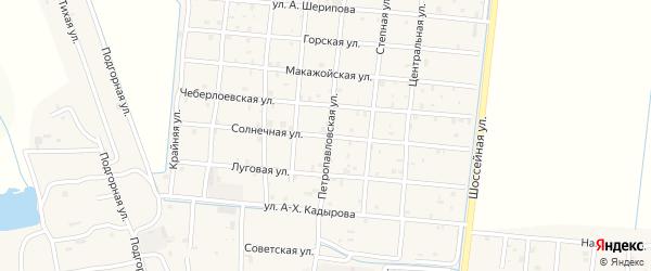 Солнечная улица на карте Петропавловской станицы с номерами домов