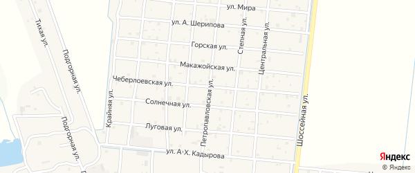 Чеберлоевская улица на карте Петропавловской станицы с номерами домов