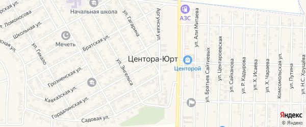 Крайняя улица на карте села Центора-Юрт с номерами домов