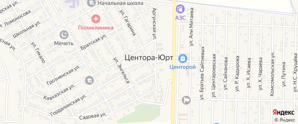 Железнодорожная улица на карте села Центора-Юрт с номерами домов