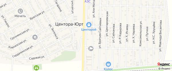 Шоссейная улица на карте села Центора-Юрт с номерами домов