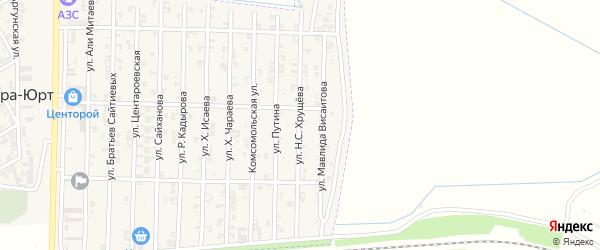 Улица Н.С. Хрущева на карте села Центора-Юрт с номерами домов