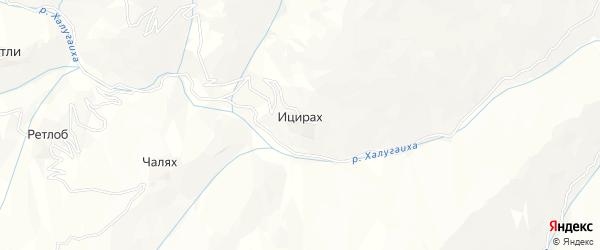 Карта села Ицираха в Дагестане с улицами и номерами домов