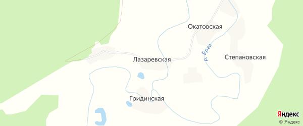Карта Лазаревской деревни в Архангельской области с улицами и номерами домов