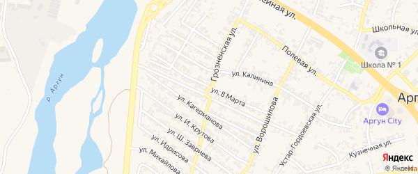 Улица 8 Марта на карте Аргуна с номерами домов