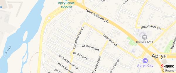 Полевой переулок на карте Аргуна с номерами домов